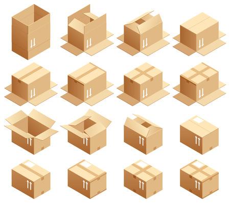 段ボール箱、組み立て方法  イラスト・ベクター素材