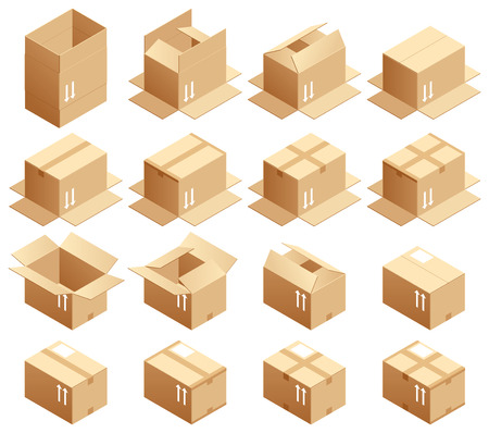 moving down: Cardboard box, assembled way Illustration