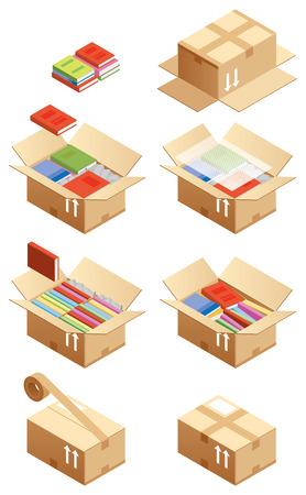 Wie dies in einem Karton gelegt Illustration