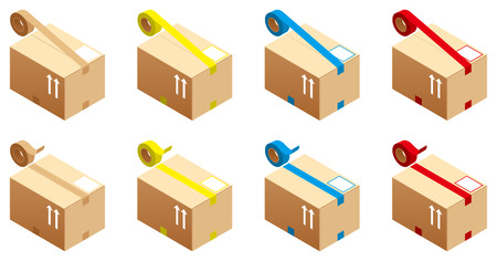 strictly: The color-coded cardboard box with tape Illustration