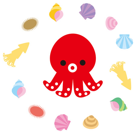 hide and seek: Octopus and shellfish of character