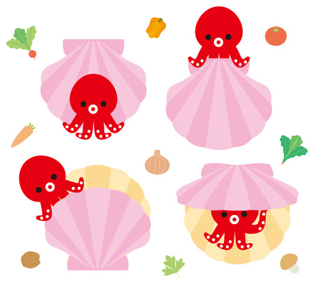 hide and seek: Octopus and scallops of character