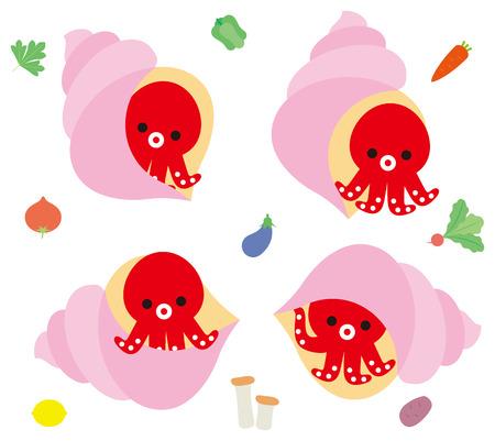 Shellfish and octopus character