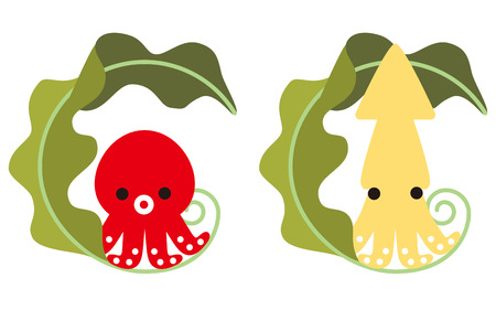 Octopus and squid and kelp of character