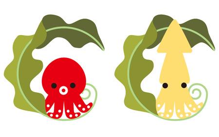 alga marina: Pulpo y calamar y algas del carácter Vectores