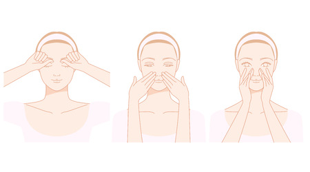 얼굴, 코, 줄무늬 셀프 마사지
