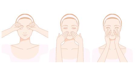 Visage, stries nez auto-massage Banque d'images - 39657621
