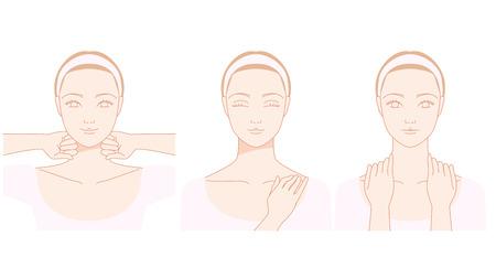 首のマッサージの女性