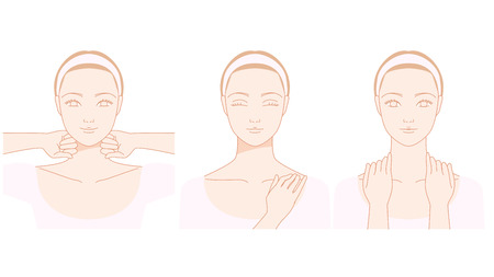 Frauen, die den Nacken zu massieren