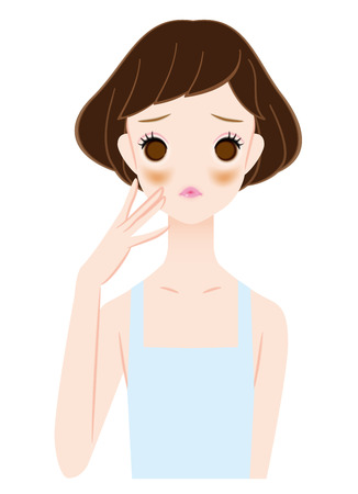 suffer: Women who suffer from liver spots Illustration