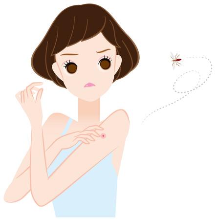 Frauen Mückenstiche