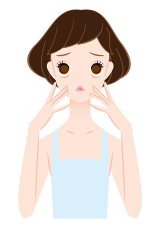 Vrouwen die last hebben van rimpels onder de ogen Stock Illustratie