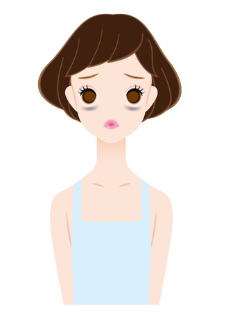 Women who suffer from dark circles under the eyes  イラスト・ベクター素材