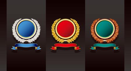 gold silver: Medal. Gold Silver Copper. Illustration