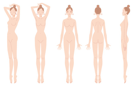 Weibliche Körper Haarentfernung. Illustration