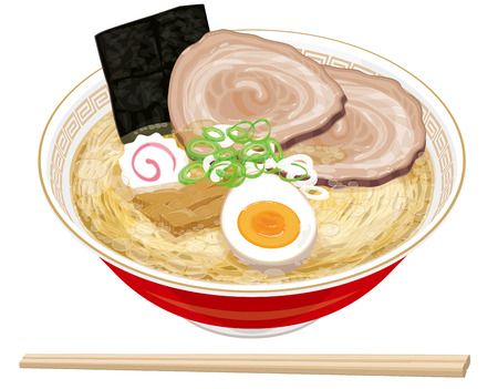 buckwheat noodle: Salt ramen Illustration
