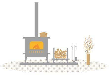 estufa: estufa de leña Vectores