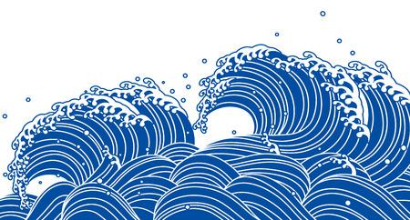 Blue wave, Japanese style 일러스트