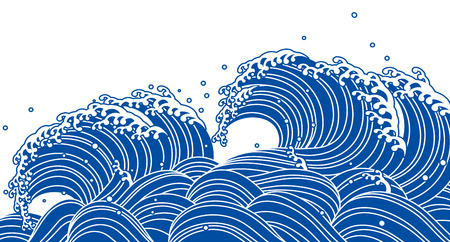 rough sea: Blue wave, Japanese style Illustration