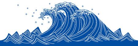 Blaue Welle. Japanischen Stil