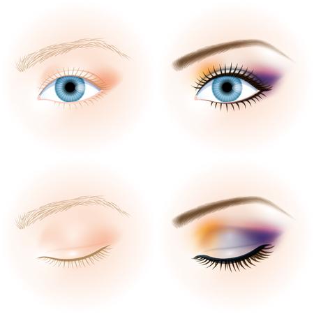 blue eye, makeup