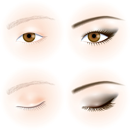eye makeup: Asiáticos ojos. Maquillaje de ojos Vectores