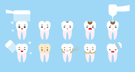tooth decay: Tooth trouble character. Clean teeth and tooth decay