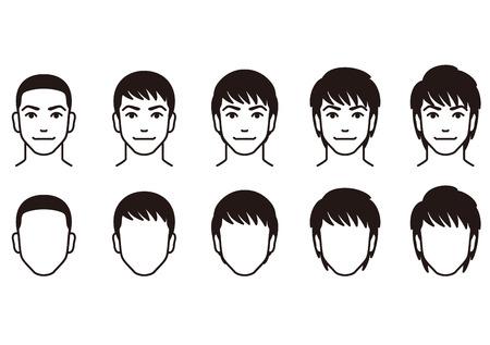 hombres jovenes: Hombres peinado. Vectores