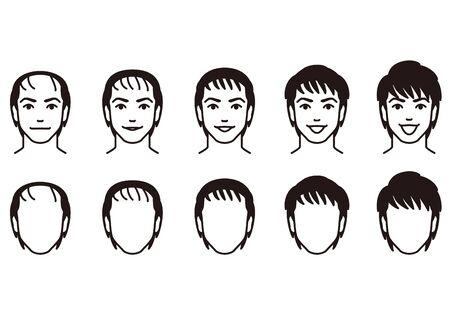 suffer: Hair of men. Thinning hair. Illustration