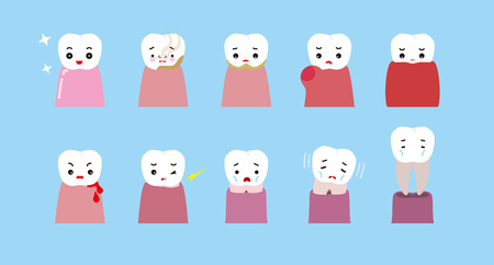 Teeth and gums trouble character. Clean gums and trouble-some gums