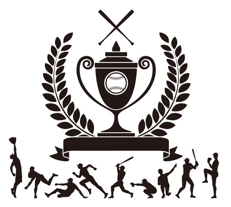 Baseball. Trophy. Silhouette. Ilustração