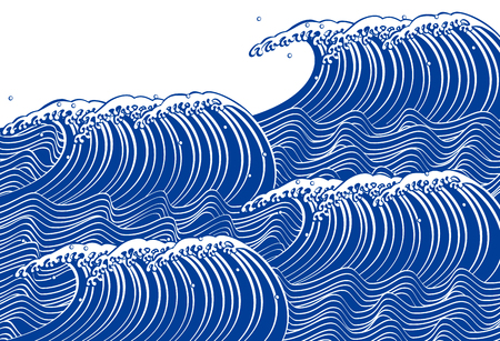 blue waves vector: Blue Wave. Japanese style