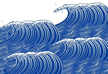 Ola azul. Estilo japones Foto de archivo - 49930540