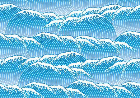 blue wave Japanese style 일러스트