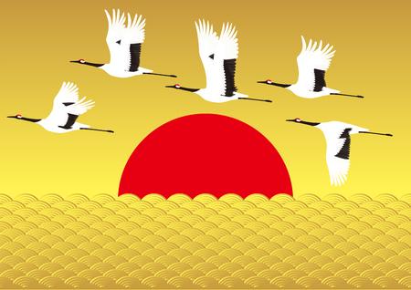cranes: Sunrise and crane. Japan