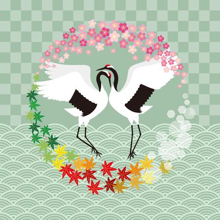 cranes: Crane and four seasons