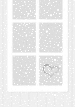 windowsill: Snow and windows Illustration