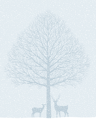 midwinter: Winter landscape. Trees and snow and deer Illustration