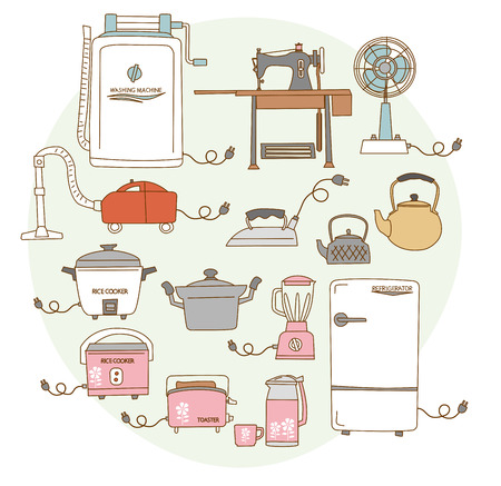 consumer electronics: Old 1950s - 1960s around consumer electronics. Japanese style Illustration