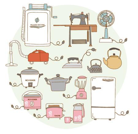 iron fan: Old 1950s - 1960s around consumer electronics. Japanese style Illustration
