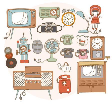 1950-1970 wokół starych artykułów gospodarstwa domowego. styl japoński Ilustracje wektorowe