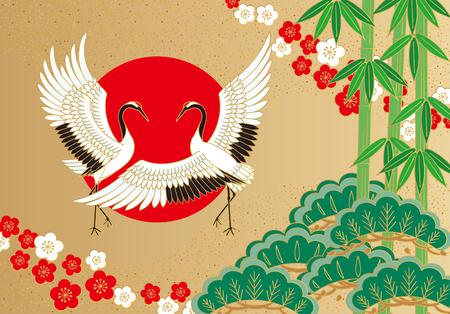 JAPON: Grues auspicieux Illustration