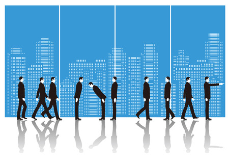 business scene: Businessman and building. Business scene Illustration