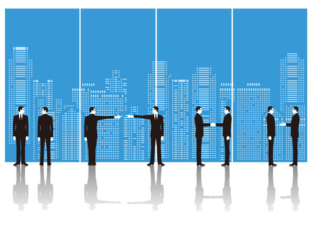 Businessman and building. Business scene Illustration