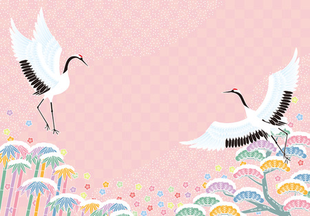 Cranes and pine bamboo plum, Japanese style