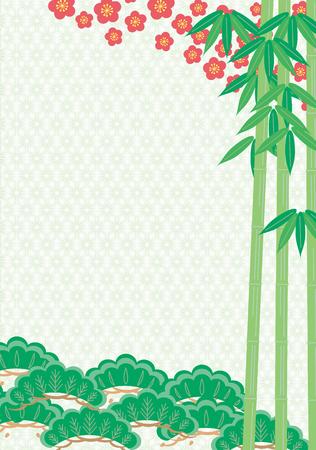 new plant: Pine bamboo plum. Japanese style Illustration
