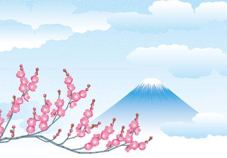 mount Fuji and plum