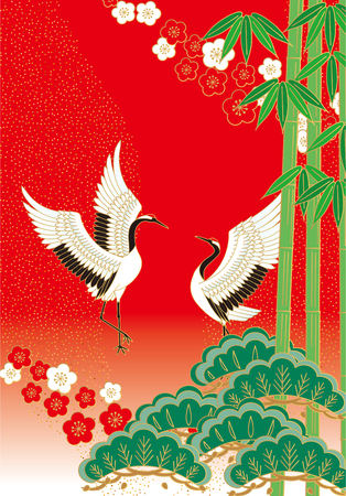 auspicious: Pine bamboo plum and bird