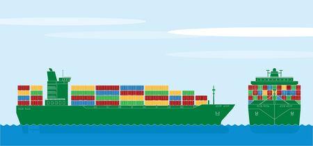 sea transport: Container ship Illustration