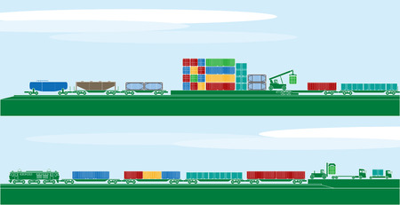 container freight: Container freight vehicles and logistics Illustration